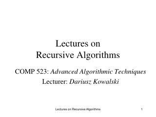 Lectures on Recursive Algorithms