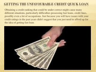 Getting the Unfavourable Credit Quick loan