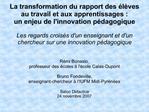 La transformation du rapport des  l ves au travail et aux apprentissages :  un enjeu de linnovation p dagogique