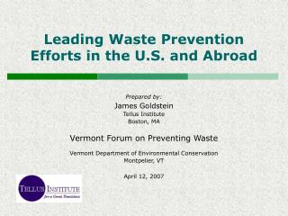 Leading Waste Prevention Efforts in the U.S. and Abroad