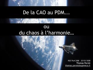 De la CAO au PDM...