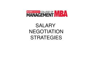 SALARY  NEGOTIATION  STRATEGIES