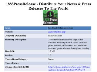 1888PressRelease - Distribute Your News & Press Releases To