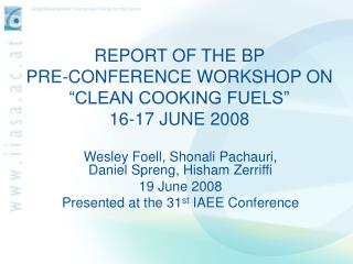 REPORT OF THE BP  PRE-CONFERENCE WORKSHOP ON  CLEAN COOKING FUELS   16-17 JUNE 2008