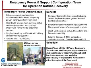 Emergency Power  Support Configuration Team for Operation Katrina Recovery