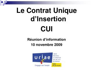 Le Contrat Unique d Insertion CUI  R union d information 10 novembre 2009