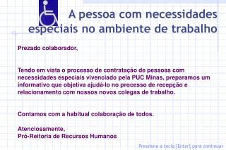 A pessoa com necessidades especiais no ambiente de trabalho