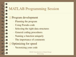MATLAB Programming Session
