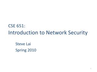 CSE 651:  Introduction to Network Security