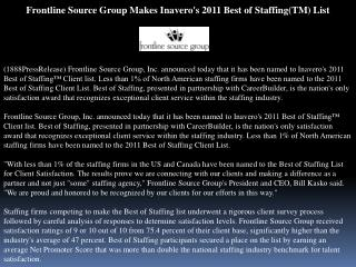 Frontline Source Group Makes Inavero's 2011 Best of Staffing