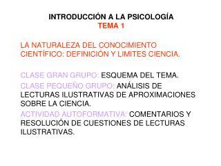 INTRODUCCI N A LA PSICOLOG A TEMA 1
