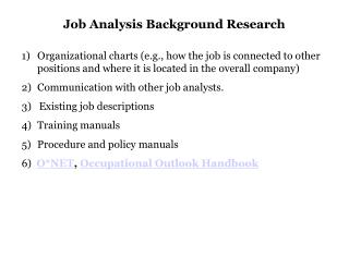 Job Analysis Background Research
