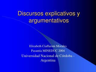 Discursos explicativos y argumentativos