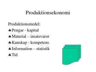 Produktionsekonomi