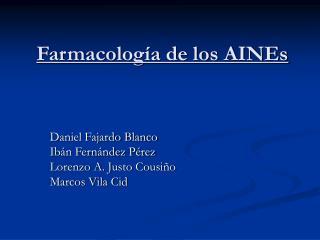 Farmacolog a de los AINEs