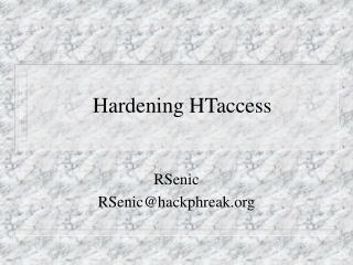 Hardening HTaccess
