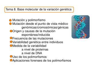 Tema 8. Base molecular de la variaci n gen tica