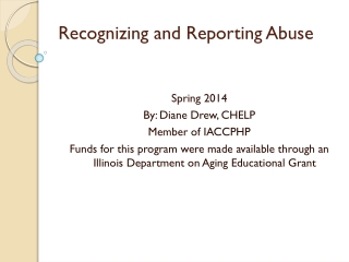 Recognizing and Responding to  Older Adult Behavior