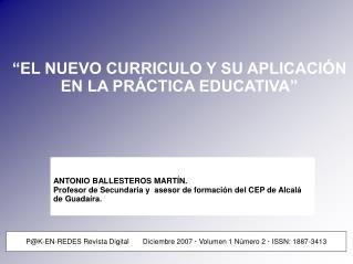 EL NUEVO CURRICULO Y SU APLICACI N EN LA PR CTICA EDUCATIVA