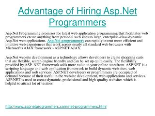 Benefit of Hiring Asp Net Programmers