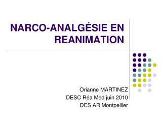 NARCO-ANALG SIE EN REANIMATION