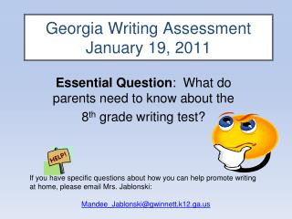 Georgia Writing Assessment  January 19, 2011