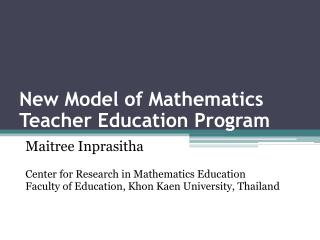 New Model of Mathematics Teacher Education Program