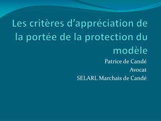 Les crit res d appr ciation de la port e de la protection du mod le