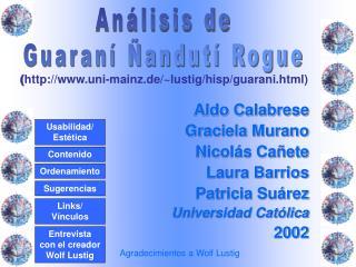 Aldo Calabrese Graciela Murano Nicol s Ca ete Laura Barrios Patricia Su rez Universidad Cat lica 2002