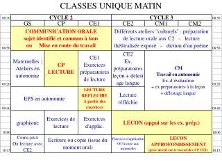 CLASSES UNIQUE MATIN