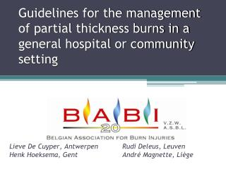 Guidelines for the management of partial thickness burns in a general hospital or community setting