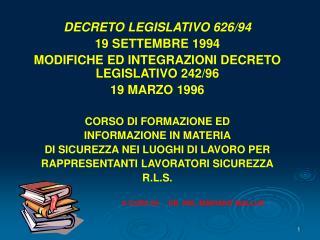 DECRETO LEGISLATIVO 626