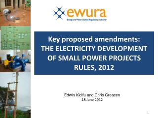 Key proposed amendments:  THE ELECTRICITY DEVELOPMENT OF SMALL POWER PROJECTS RULES, 2012