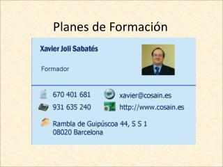 Planes de Formaci n
