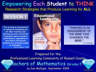 Prepared for the  Professional Learning Community of Russell County Teachers of Mathematics Grades 5   7 by Dan Mulligan