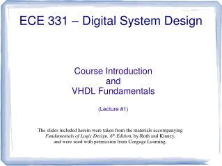 Course Introduction and VHDL Fundamentals  Lecture 1