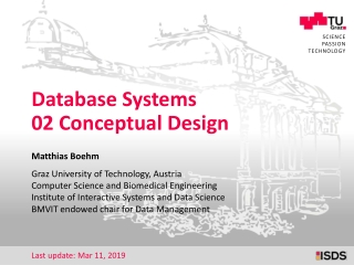 Data Models and Conceptual Design