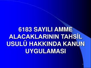6183 SAYILI AMME ALACAKLARININ TAHSIL USUL  HAKKINDA KANUN UYGULAMASI