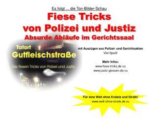 Es folgt ... die Ton-Bilder-Schau Fiese Tricks von Polizei und Justiz Absurde Abl ufe im Gerichtssaal