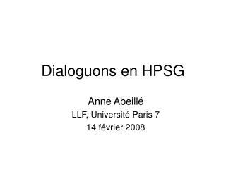 Dialoguons en HPSG