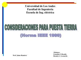 Universidad de Los Andes Facultad de Ingenier a Escuela de Ing. el ctrica