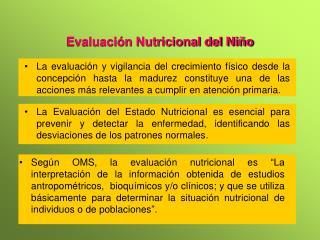 Evaluaci n Nutricional del Ni o