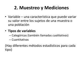 2. Muestreo y Mediciones