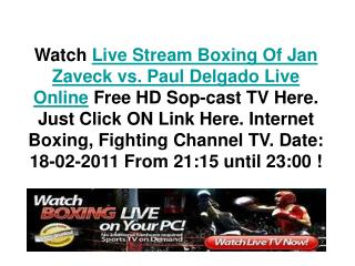 Jan Zaveck vs Paul Delgado Live Stream 2011 HD Boxing TV