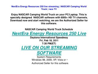 NextEra Energy Resources 250 live streaming | NASCAR Camping