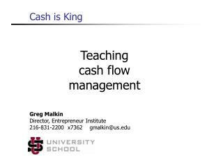 Teaching  cash flow management