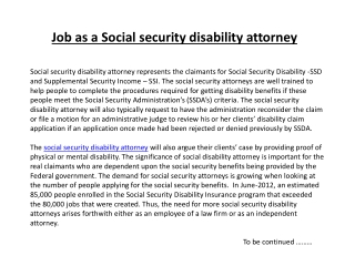 Job as a Social security disability attorney
