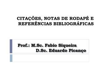 CITA  ES, NOTAS DE RODAP  E REFER NCIAS BIBLIOGR FICAS