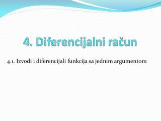 4.1. Izvodi i diferencijali funkcija sa jednim argumentom