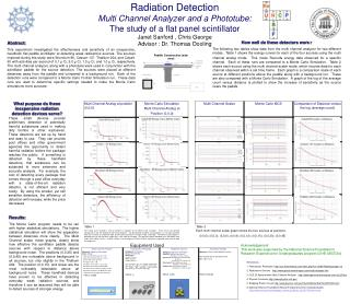 Radiation Detection Multi Channel Analyzer and a Phototube:  The study of a flat panel scintillator Janet Sanford , Chri